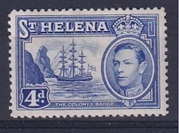 St Helena: 1938/44   KGVI     SG135b    4d       MH - Isola Di Sant'Elena