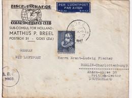 PAYS-BAS 1947 PLI AERIEN CENSURE DE GOES POUR BERLIN - Periode 1891-1948 (Wilhelmina)