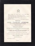 GAND LEIRENS Léon Veuf LEVISON 1852-1931 Président Société LA LYS Banque Flandre Sucrerie MOERBEKE-WAAS - Todesanzeige