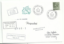 YT 1020 Machin - QEII - Posté à Bord Du Lowland Lancer - Port Aux Français - Kerguelen - 29/12/1989 - Série 'Machin'