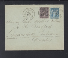 Lettre 1894 Paris A Czernowitz Autriche - Poststempel (Briefe)
