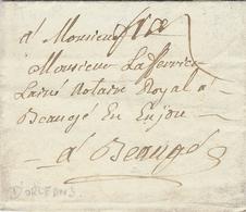 """1760- Lettre D'Orléans  ( Loiret ) En Port Payé ) Avec """" Frs """" ( Franc ) SANS MARQUE De Départ-taxe 7 Au Dos - Marcophilie (Lettres)"""