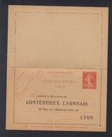 Carte-Lettre Contentieux Lyonnais - Ganzsachen