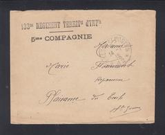 Lettre 133 Reg. Territ. Inf 1916 - Poststempel (Briefe)
