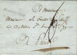 1785- Lettre De BEAUGENCY ( Loiret ) à Sec  31 Mm Noir  Pour Paris - Taxe 6 Sols - Marcophilie (Lettres)