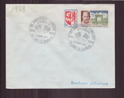 """Enveloppe Avec Cachet Commémoratif """" 10 ème Anniversaire Jumelage """" Du 13 Avril 1969 à Lons-le-Saunier - Marcophilie (Lettres)"""