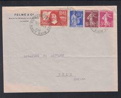 Lettre Sainte Marie Aux Mines 1938 A Bale - Poststempel (Briefe)