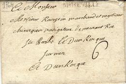 1764 - Lettre D'ABBEVILLE ( Somme ) Lenain L5   Pour Dunkerque - Taxe 6 Sols - Marcophilie (Lettres)