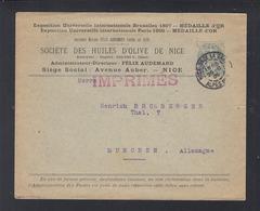 Lettre Nice 1905 Huiles D'Olive - Poststempel (Briefe)