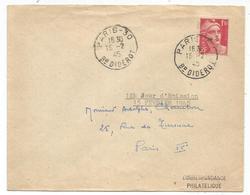 GANDON 1FR50 SEUL LETTRE PARIS 30 15.2.1945 USAGE COURT 17 JOURS 1ER JOUR DU TIMBRE RARE - 1945-54 Marianne Of Gandon