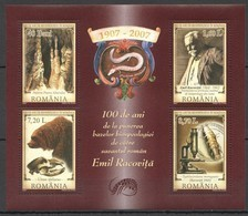 RM087 2007 ROMANIA SCIENCE BIOLOGY 100 YEARS EMIL RACOVITA MICHEL 13 EURO KB MNH - Nature