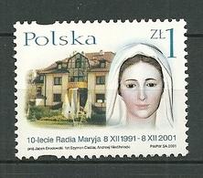 POLAND MNH ** 3715 Anniversaire De Radio MARYJA à TORUN La Vierge Marie - 1944-.... Republik