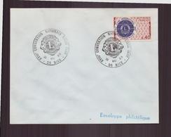 """Enveloppe Avec Cachet Commémoratif """"XVIII ème Convention Nationale Lions Club """" Du 30 Mai 1969 à Nice - Marcophilie (Lettres)"""