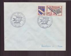 """Enveloppe Avec Cachet Commémoratif """" Assoc Donneurs De Sang Bénévoles Des PTT """" Du 26 Avril 1969 à Lyon - Marcophilie (Lettres)"""