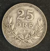 SUEDE - SWEDEN - 25 ORE 1914 - Gustaf V - KM 785 - Argent - Silver - Suède