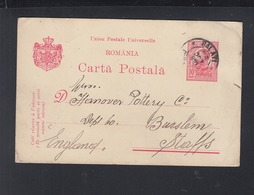 Romania Stationery 1910 Galati To England - 1881-1918: Carol I.