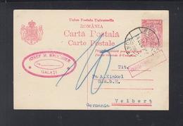 Romania Stationery 1926 Galati To Germany - 1918-1948 Ferdinand, Carol II. & Mihai I.