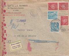 Env Affr Y&T 414A X 2 + 514 X 3 Obl  LYON TERREAUX Du 4.12.42 Adressée à Strasbourg Avec Censure Et Retour - Marcophilie (Lettres)