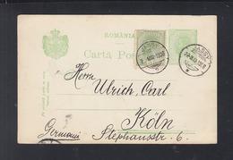 Romania Stationery 1906 Jasi To Germany - 1881-1918: Carol I.