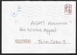 Oblitération Néopost Défectueuse:Lettre Marianne De Ciappa De Carnet - Manual Postmarks