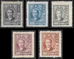 CHINE  1947 - YT  568 -  572 - 573 - 575 - 576 -  Sun Yat Sen  - NEUFS** - China