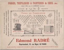 BUVARD FORGES TREFILERIES POINTERIES -USINES à  CREIL Et CHAMPAGNAC - -  -DEPOT BADRE LE MANS - - Buvards, Protège-cahiers Illustrés