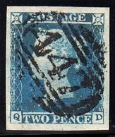 GRAN BRETAGNA 1841  2p TWO PENCE BLUE  LETT. Q-D   PLATE 4   GIGANTIC MARGINS  WONDERFULLY CRISP 447 NUMERAL OF LEEDS - Used Stamps
