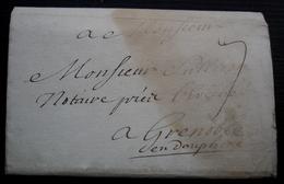 1734 Lettre Pour Grenoble Joli Reste De Sceau De Cire à L'arrière - Marcofilie (Brieven)