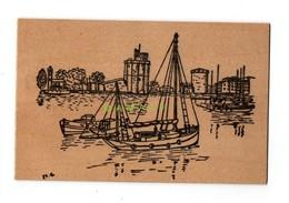 CARTE EN BOIS - ILLUSTRATEUR M.C - 17 - LA ROCHELLE - BATEAU DE PECHE - Cartes Postales