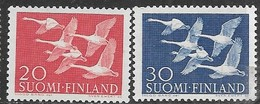 Finland   1956   Sc#343-4  Whooping Swans Set  MNH   2016 Scott Value $10.25 - Unused Stamps