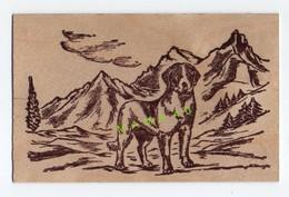 CARTE EN BOIS - JACLO CREATION ARTISANALE - CHIEN SAINT BERNARD DANS MONTAGNE - Cartes Postales