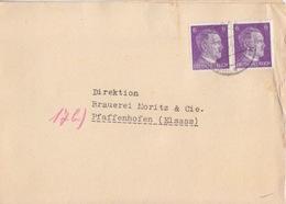 Lettre Pré-imprimée (grossiste En Houblon) Obl. München-Pasing Sur 6pf Hitler X 2 Le 9/10/44 Pour Pfaffenhofen - Alemania