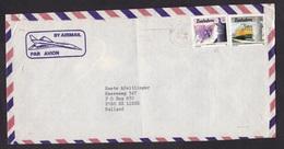 Zimbabwe: Airmail Cover To Netherlands, 1989, 2 Stamps, Train, Amethyst Mineral, Ore, Gem (minor Damage) - Zimbabwe (1980-...)
