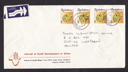 Zimbabwe: Airmail Cover To Netherlands, 1993, 4 Stamps, Uranium Mineral, Ore, Nuclear Fuel (right Stamp Damaged) - Zimbabwe (1980-...)