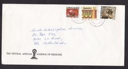 Zimbabwe: Cover To Netherlands, 1983, 3 Stamps, Garnet, Mineral, Gem, Corn, Food (animal Stamp Damaged) - Zimbabwe (1980-...)