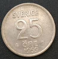 SUEDE - SWEDEN - 25 ORE 1959 - Gustaf VI Adolf - KM 824 - Argent - Silver - Suède