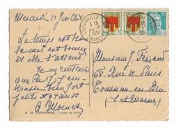 COUTAINVILLE PLAGE 4 7 1951 Sur N°810 Paire N°837 - Marcophilie (Lettres)