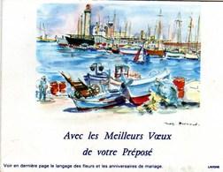 Petit Calendrier La Poste  Avec Les Meilleurs Voeux De Votre Prepose   Peinture Mag Bermond Bateaux Aquarelle - Calendars