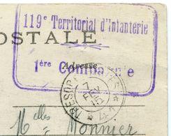 CACHET Militaire 119e Territorial D'Infanterie 1ère Compagnie + Cachet Postal 7 Février 1915 CPA Artillerie Le Rimailho - Marcophilie (Lettres)