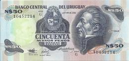 URUGUAY 50 NUEVOS PESOS ND1989 AUNC P 61A - Uruguay