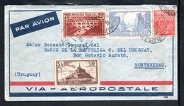 YT 262 A - PONT DU GARD - 261 B - LA ROCHELLE - 260 (II) MONT ST MICHEL - 272 (I) EXPO COLONIALE - URUGUAY 1931 - Marcofilia (sobres)