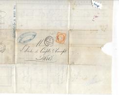 """N° 38 Lac 1875 Losange Avec """"B P """" BREST PARIS Publicité Banque De Recouvrement RICHELOT RENNES - 1870 Siege Of Paris"""