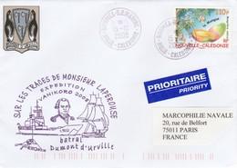 Batral DUMONT D URVILLE Expédition Vanikoro  Nouméa Nouvelle Calédonie 15/10/2008 - Postmark Collection (Covers)