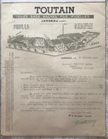TOUTAIN. Toiles Sacs Baches Fils Ficelles - Jargeau (Loiret) 1943 - Textile & Vestimentaire