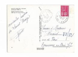 ST URCIZE  24 6 1977 Sur N°1892 Carte  SAINT URCIZE Eglise - Marcophilie (Lettres)