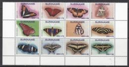 2017 Surinam Suriname Butterflies Papillons Complete Block Of 12 MNH - Surinam