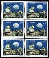 POLAND 1969 SPACE 1ST MANNED LUNAR LANDING MAN ON THE MOON BLOCK 0F 6 NHM Armstrong Aldrin Collins USA View Earth Crater - Ongebruikt