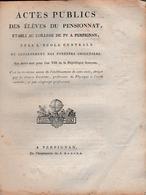 Brum.an 9 (1800) COLLÈGE PY à PERPIGNAN - Actes Publics Des élèves Du Pensionnat An 8 - Table Des Matières - Documents Historiques