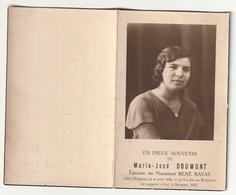 Décès Marie Jose DOUMONT épouse René Bavay Soignies 1914 - 1937 - Images Religieuses