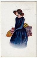 ELEGANTE DONNA - LE PENSIEROSE - PITTORE COPPA - 1924 - Vedi Retro - Formato Piccolo - Otros Ilustradores